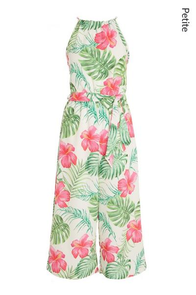 Petite White Tropical Print Jumpsuit